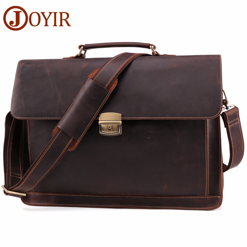 JOYIR Men's Briefcase Vintage Crazy Horse Genuine Leather Bag Men Briefcases Male Shoulder Laptop Bag Office Handbags For Man