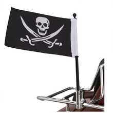 Cool Skull Flag Motorcycle Bike Rear Mount Pole Adjustable Mounting Flagpole For Harley For Honda Universal #MBG001-B