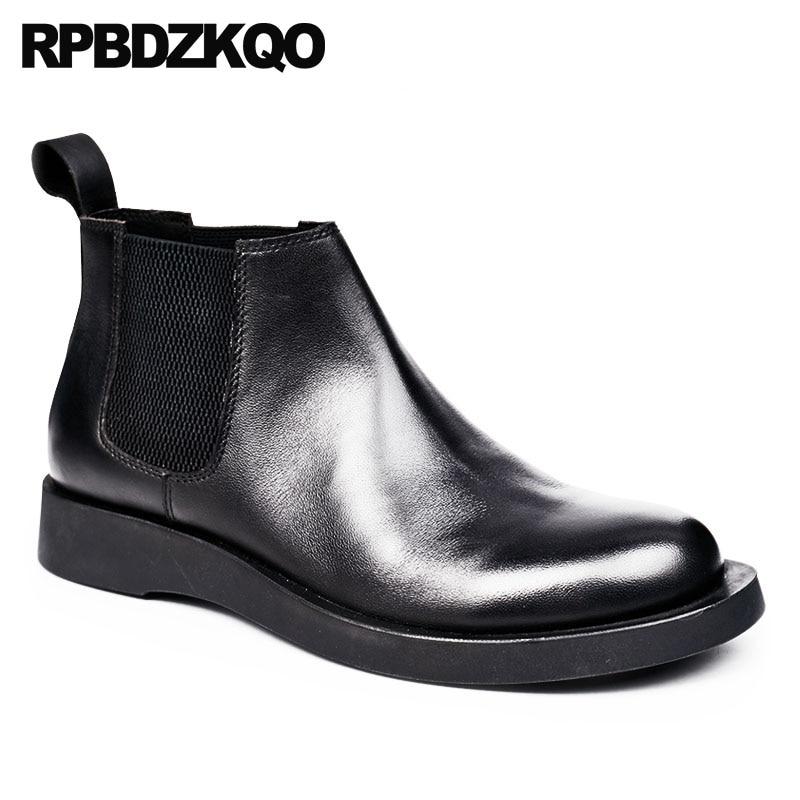 Grife Genuíno Grão Botas Couro Vestido De Qualidade Deslizar Do Cheio Sobre Chelsea Partido Preto Formal Sapatos Alta Confortável Homens vv1ExP