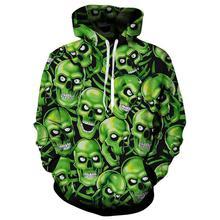 Высокое качество S-5XL аниме Хэллоуин Зеленый Череп Shantou 3D толстовки кофты Мода 3D куртка пальто худи Толстовка
