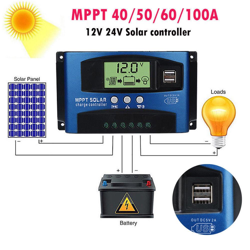 Contrôleur de Charge de régulateur de panneau solaire 100A MPPT 12 V/24 V suivi de mise au point automatique