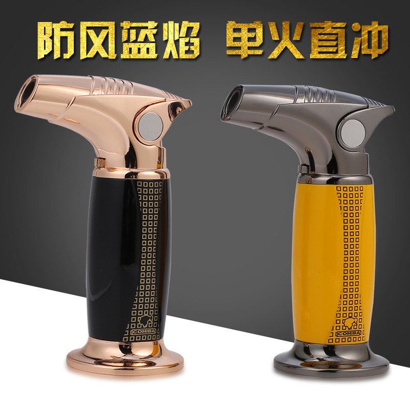 COHIBA Luxury Table Styel  Windproof 1 Torch Jet Flame Lighters Butane Gas  Cigarette  Cigar Lighter With Gift BoxCOHIBA Luxury Table Styel  Windproof 1 Torch Jet Flame Lighters Butane Gas  Cigarette  Cigar Lighter With Gift Box