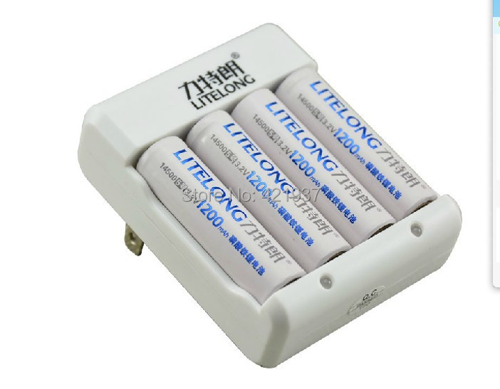 4pcs 3.2v 1200mAh 14500 <font><b>AA</b></font> LiFePo4 <font><b>lithium</b></font> ion rechargeable <font><b>battery</b></font> + 4 slots 14500 10440 smart <font><b>charger</b></font> instead <font><b>1.5v</b></font> <font><b>battery</b></font> image