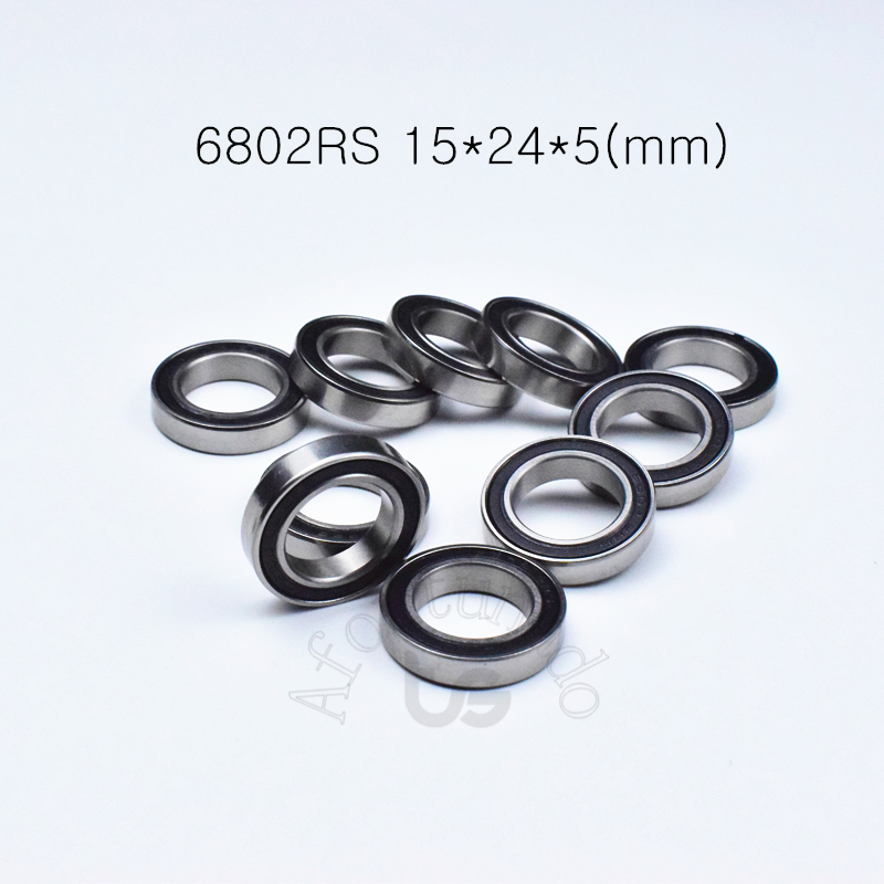 <font><b>6802RS</b></font> 15*24*5(mm) 10pieces <font><b>bearing</b></font> 61802 Rubber sealed <font><b>bearing</b></font> Thin wall <font><b>bearing</b></font> 6802 <font><b>6802RS</b></font> chrome steel free shipping image