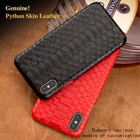 Natural Genuine Leather Case For IPhone X Cover Luxury Real Python Skin Snake Design Custom Phone