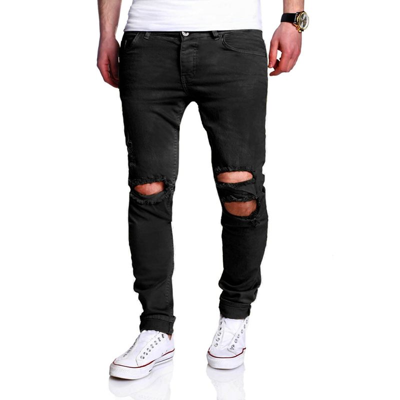 High Quality 2018 Mens Jeans Black Color Printed Jeans For Men Ripped Button Jeans Casual Hole Pants Cotton Denim Jeans