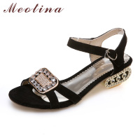 Meotina Women Sandals 2017 Summer Shoes Women Open Toe Crystal Chunky Heels Sandals Rhinestone Shoes Black