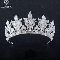 CC Tiaras Crowns Hairbands Leaf Design Luxury Crystal Pearl Beads Wedding Hair Accessories For Bride Handmade