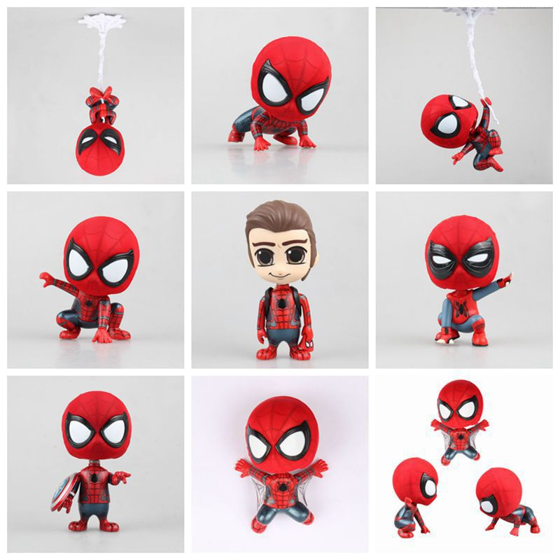 1pcs 7-9cm Kawaii Avengers Spiderman Super Hero Spider-Man: Homecoming Bobble Head Figure Collection Model Toys