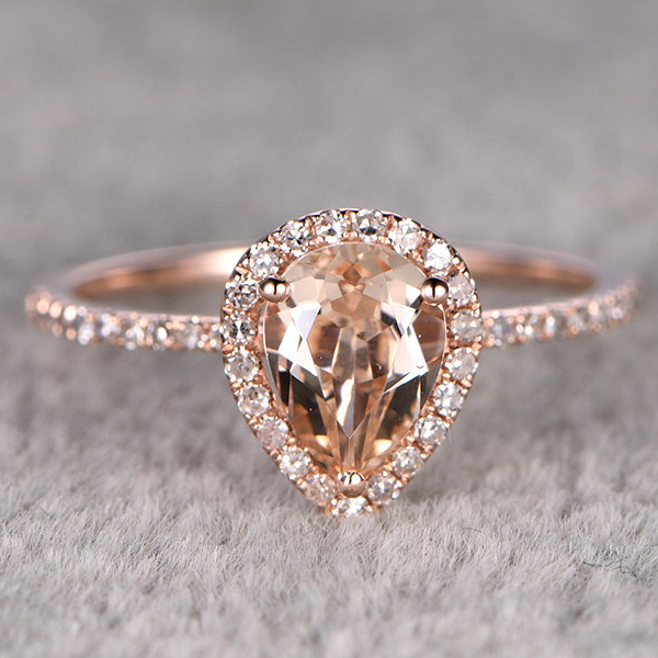 Ring For Women12CTW Pear Cut Morganite Engagement Ring 14k Rose Gold Wedding Pear Shaped