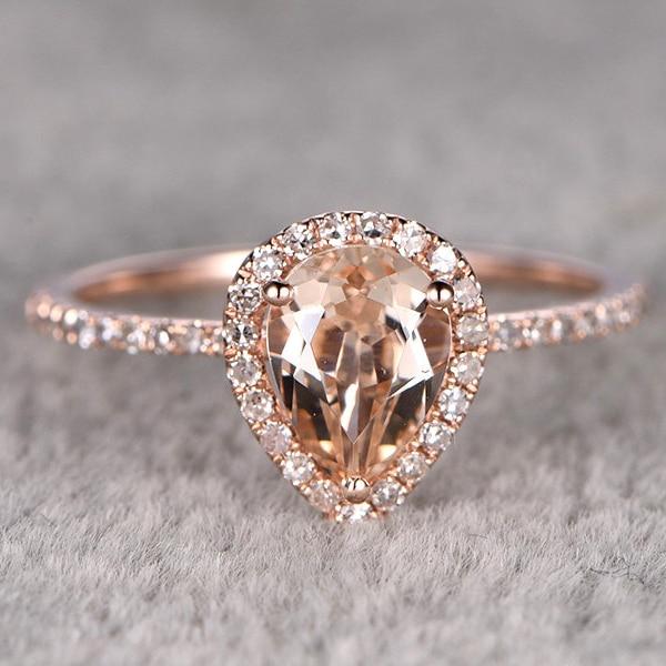 Ring For Women1 2ctw Pear Cut Morganite Engagement Ring
