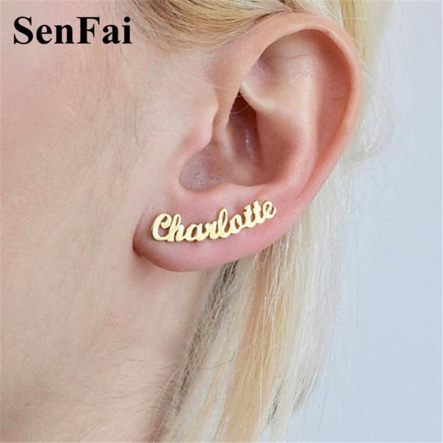 Senfai Fashion Name Personalized Earrings Custom Monogram Initial Stud For Women Bar Wedding Party