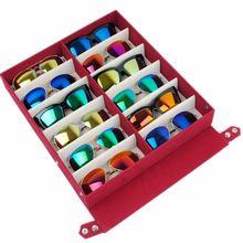 Qualität sonnenbrille gläser aufbewahrungsbox display veranstalter für 12 paar brillen