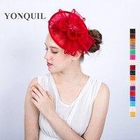 Rode of 17 kleuren Bruiloft kerk hoeden en fascinators voor elegante vrouwen haar accassories DIY bloem hoedenzaak hoofdbanden SYF117