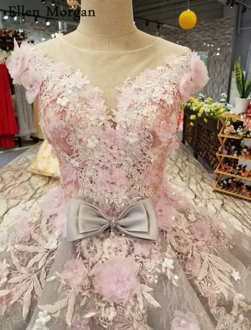 Silver Ball Gowns Wedding Dresses 2018 Boat Neck Flowers Lace Custom Made See Through Long Train Colorful Bridal Gowns