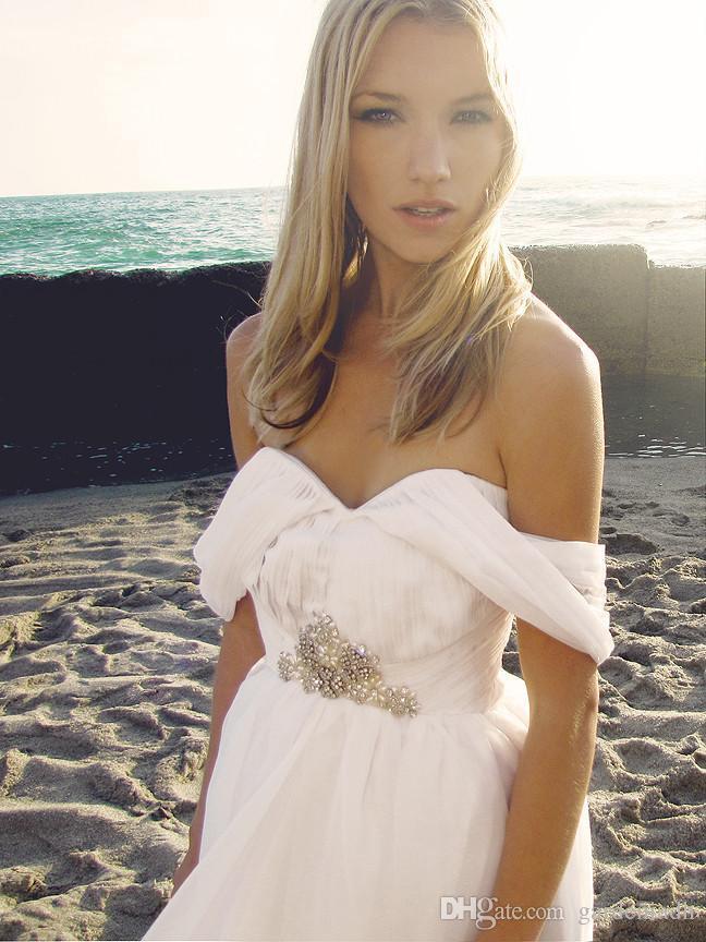 Summer Style Backless Beach Wedding Dresses Flowing Elegant Boho ...