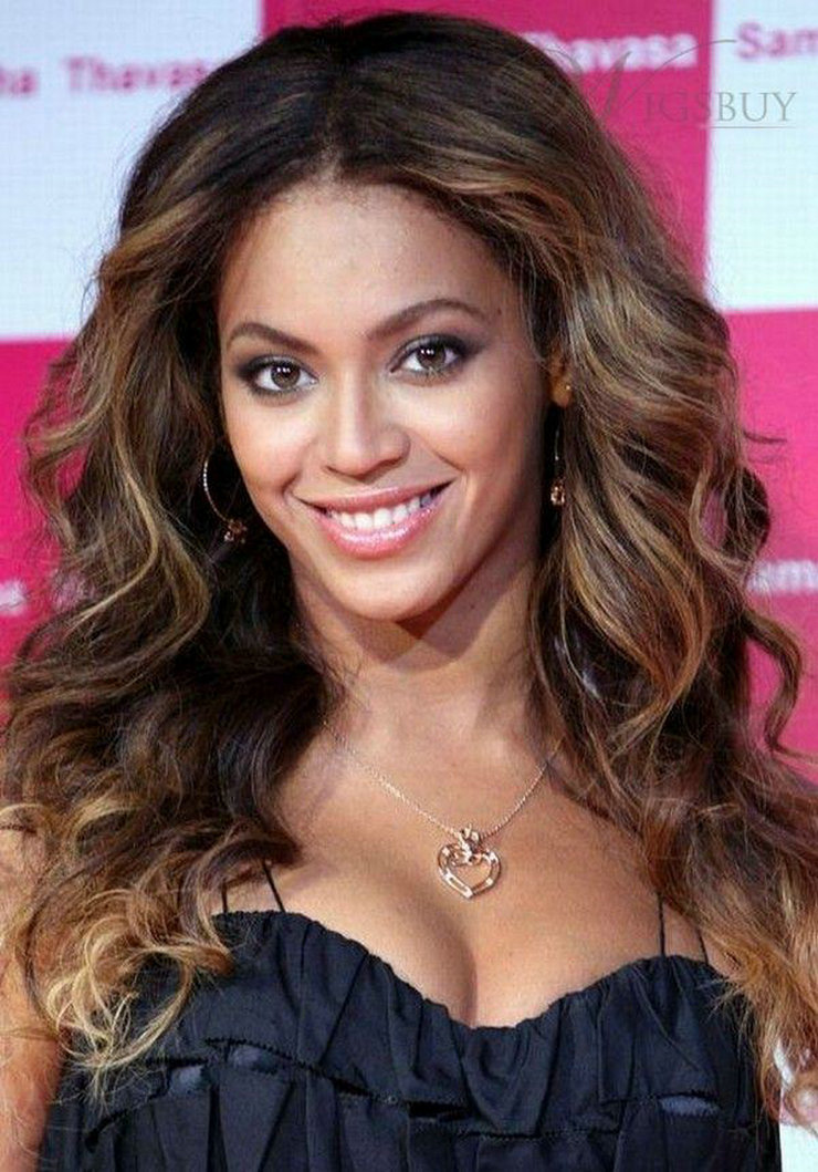 Beyonce Middle Part Wigs Celebrity Hairstyle Loose Curly Human Hair