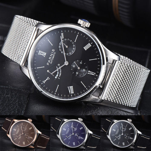 Cadeau romantique 42mm Parnis noir marron blanc bleu cadran blanc cassé réserve de marche Date marque de luxe mouvement automatique montres pour hommes