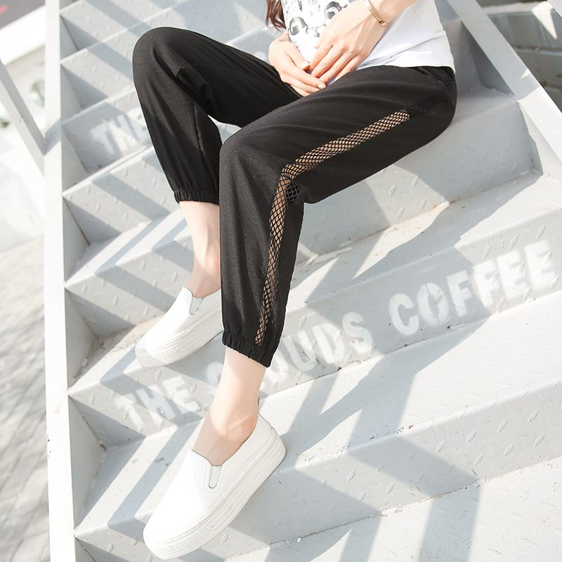Spring and summer new fashion beam side openwork loose pregnant women casual pants harem pants pants pants belly pants