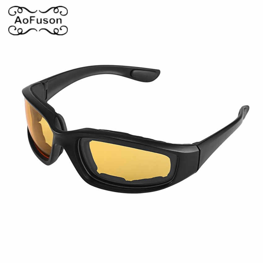 Cycling CS Goggles Eyeglasses Outdoor Sports Yellow Night Vision Eyewear Motorcycle Bike Protective Windproof Dustproof Glasses
