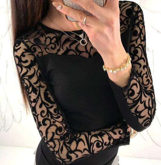 Sexy Lace Black   Blouse   For Woman 2018 New Autumn Round Neck Blusas Long Sleeve Splice Body Tops Female   Blouses     Shirts   WS5162W