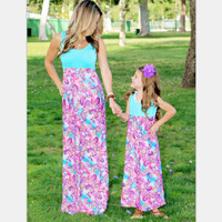 Mommy And Me Matching Dresses 2016 Summer Mother And Daughter Girls Outfits Chervon Lace Fall Blue