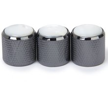 5X 3pcs Domed Volume Tone Control Knob for Electric Guitar – Black with White Top