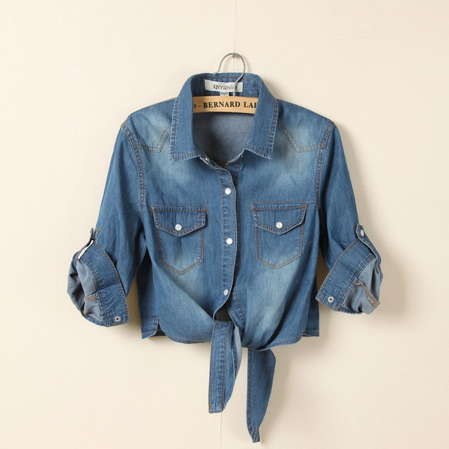 2014 новых женщин весна лето кардиган tieclasps джинсовые небольшой мыс женский краткое дизайн тонкий рубашка XS-XXL