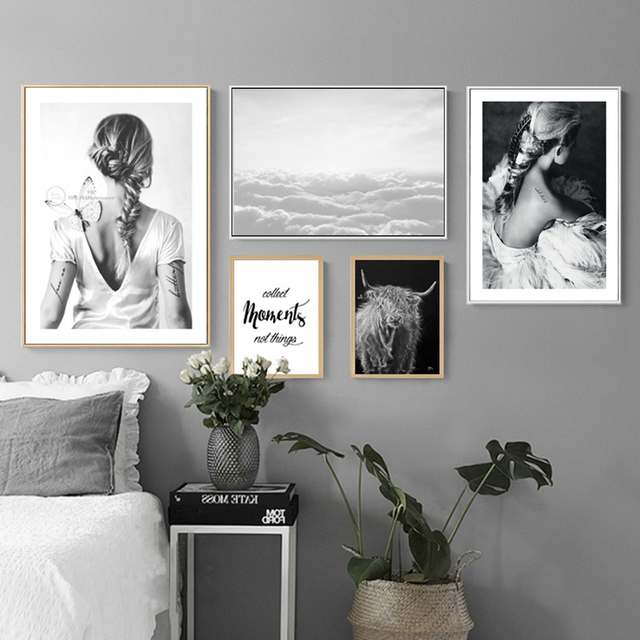 Modern fashion canvas black white posters prints nordic art women decoration for living room interior no