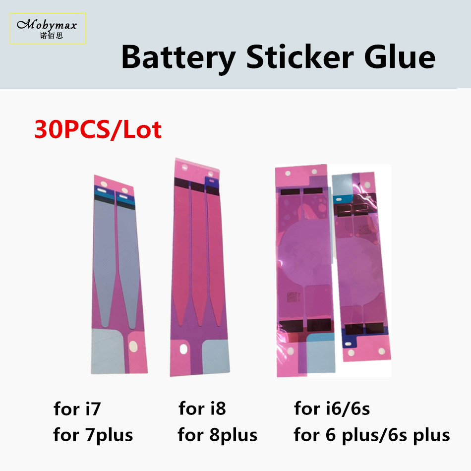 30PCS Battery Sticker for iPhone X 10 8 7 7 Plus 6 6S Plus Battery Sticker Adhesive Film Pull Strip Tab Glue Replacement Part