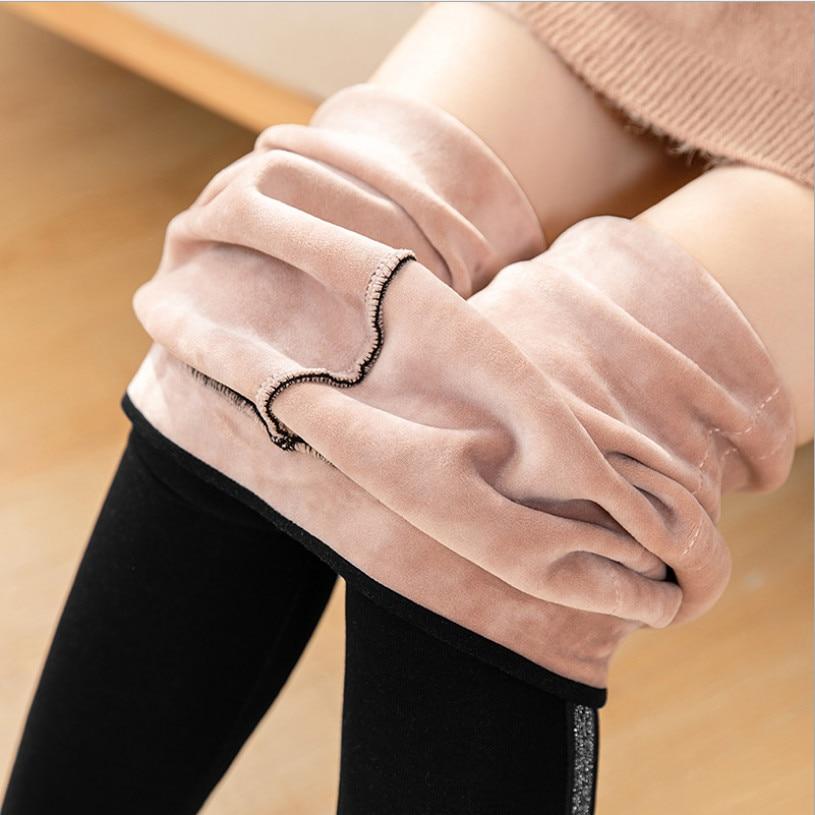 2020 Autumn Winter Cotton Velvet Leggings Women High Waist Side Stripes Sporting Fitness Leggings Pants Warm Thick Leggings 2