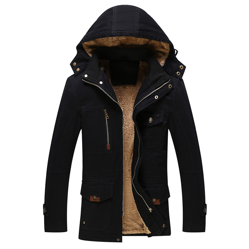 Men Autumn Winter Hooded Coat Hat Detachable Cotton Men Down Jackets Long Sleeve Military Style Casual Outerwear Plus Size D135 new men s military style casual fashion canvas outdoor camping travel hooded trench coat outerwear mens army parka long jackets