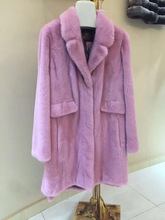 Autumn and winter American velvet mink fur coat V collar pink color free shipping