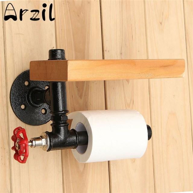 Wonderful Eisen Rohr Toilettenpapierhalter Roller Mit Holz Regal Städtischen  Industriellen Stil Wandhalterung Restaurant Toilette Badezimmer Dekoration