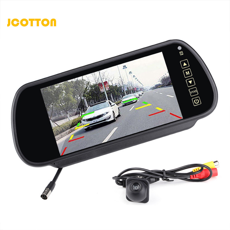 JCOTTON 7 Inch TFT LCD Monitor With Rear View Camera For Car Reversing Camera System For Car Rear View Mirror Monitor PAL/NTSC fashion 3 5 inch tft lcd monitor for rear view system cctv monitor