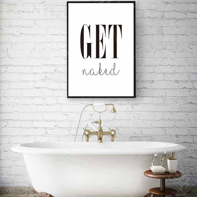 Get Naked Poster&Prints Toilet Life Quote Modular Wall Art Wall Picture For Bathroom Modern Canvas Painting Washroom Home Decor-in Painting & Calligraphy from Home & Garden