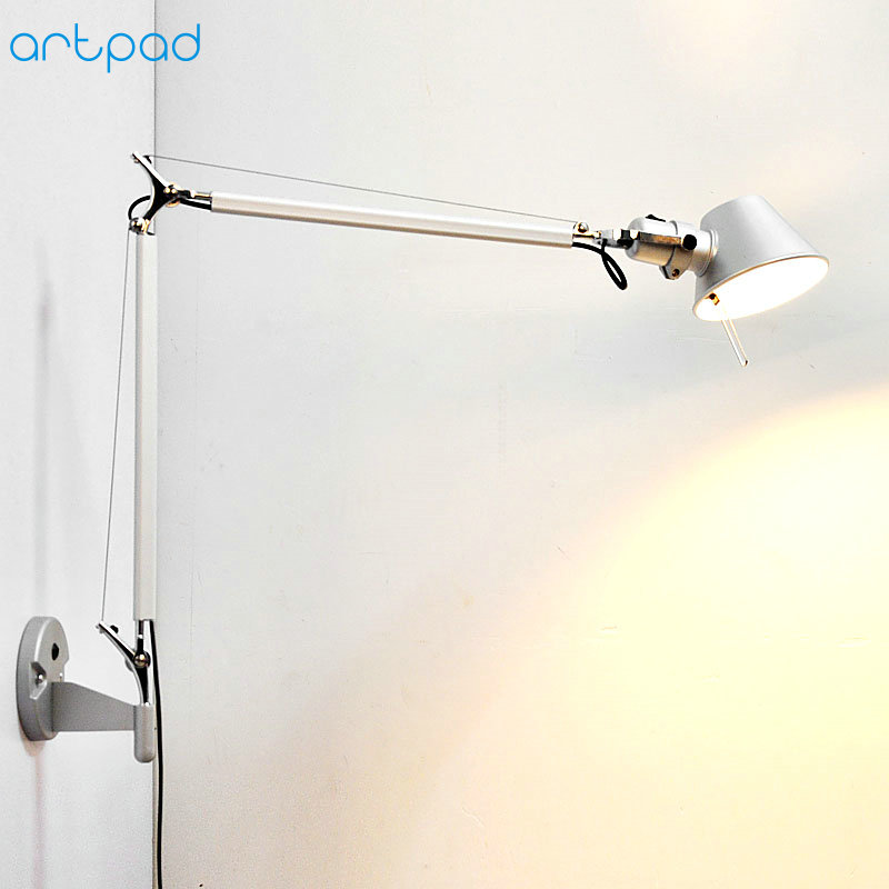 Artpad American Modern Swing Long Arm LED Flexible Wall Lights AC90-260V Silver/Black Eye Protection Bedroom Bedside Wall Lamp