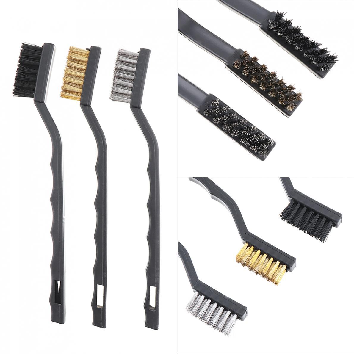 3pcs Mini Wire Brush Set Nylon Wire Brush Brass Wire Brush