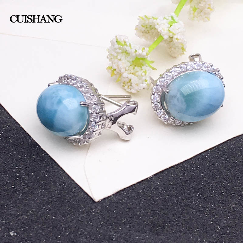 CSJ Natural Blue Larimar Earring Sterling 925 Silver Big Stone 10 12 Wedding Engagement Party for Women Ladies Girls Gift in Earrings from Jewelry Accessories