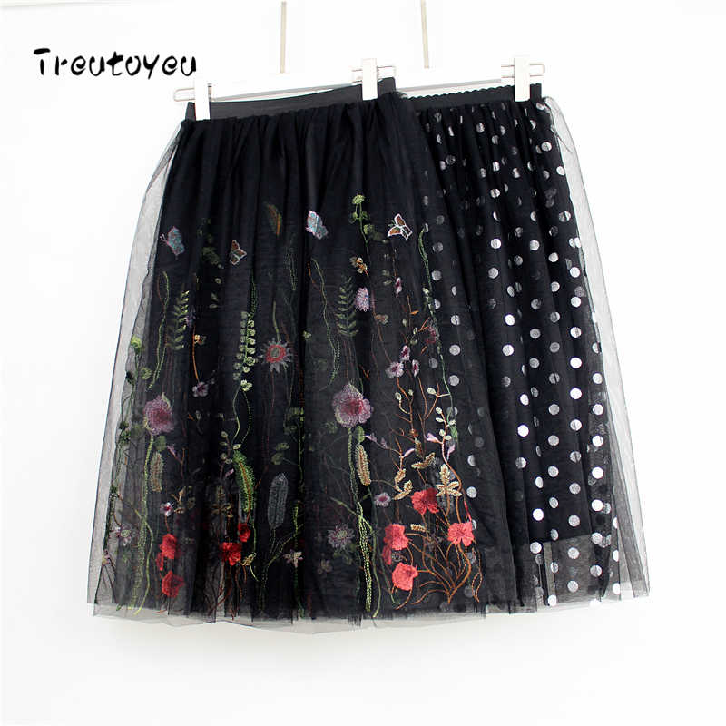 2018 Fashion Midi Mesh Tulle Skirts Womens Vintage Pleated Floral Embroidery Elegant Party Skirt faldas saia jupe
