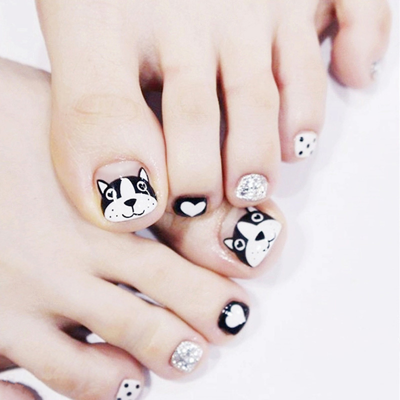 New 24pcs false toe nails with designs dog head little puppy black new 24pcs false toe nails with designs dog head little puppy black white dots pedicure press on fake toenails full cover tips in false nails from beauty prinsesfo Image collections