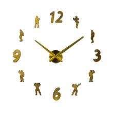 new mirror effect diy digital Europe style still life  Living room wall stickers home decoration quartz big watch clock