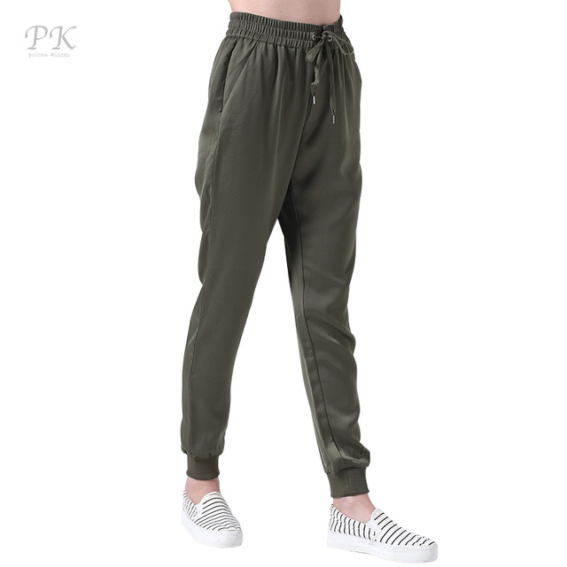 PK Армейский зеленый джоггеры женские брюки фитнес Лен штаны-шаровары спортивный зеленый Femme штаны женские леггинсы Панталоны Mujer Femme