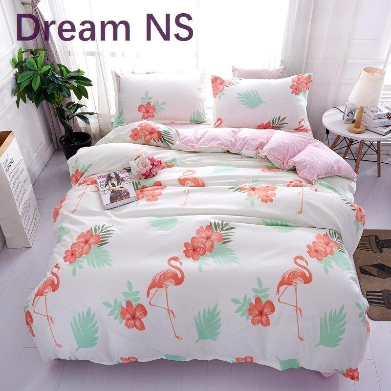 DreamNS New Hot Flamingo Bed Linen Daisy Bedding Set Queen