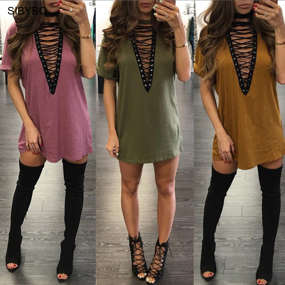 5456887f189a Sibybo Lace Up Summer T Shirt Dress Women Deep V Neck Sexy Bodycon Dress  Bandage Party