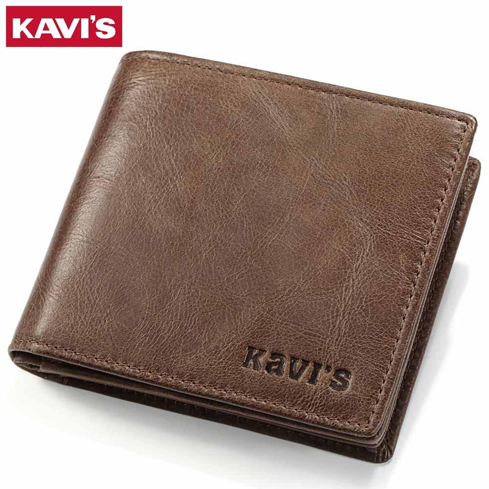 KAVIS Genuine Leather Men Wallets Coin Purse Small Walet Portomonee Mini PORTFOLIO Clamp for Money Bag Male Cuzdan Card Holder
