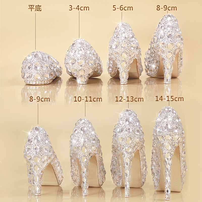Crystal shoes 2017 new bride wedding shoes female heels shoes with a fine diamond princess Cinderella christmas party shoes the new 2017 diamond red bride wedding shoes pointed the bride wedding toast with velvet like shoes fashion