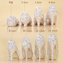 Crystal shoes 2017 new bride wedding shoes female heels shoes with a fine diamond princess Cinderella christmas party shoes