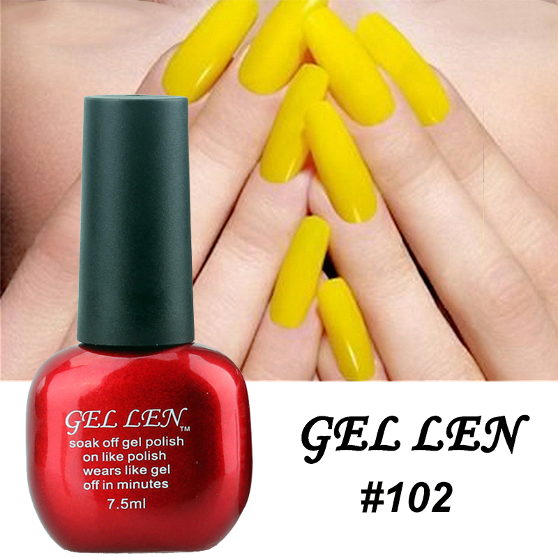 Gel Len Yellow Color Nail Polish Long Lasting Soak Off Led Uv Lacquer Art Salon