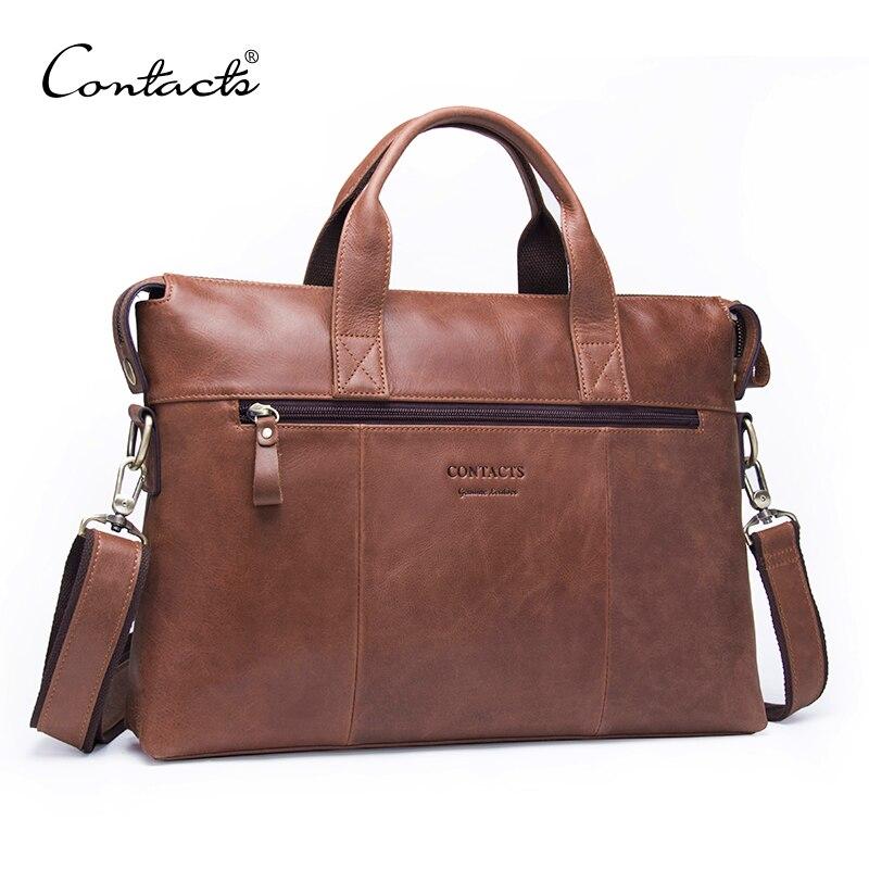 CONTACT'S Бизнес Для мужчин Портфели сумка из натуральной кожи сумка для человека моды сумка для ноутбука с клапаном карман новый дизайн